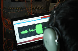 student on computer looking at sound graph