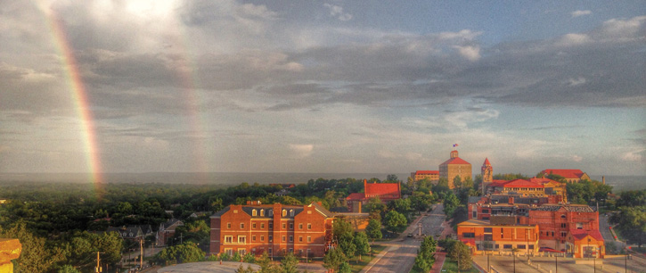 Lawrence campus aerial with rainbows
