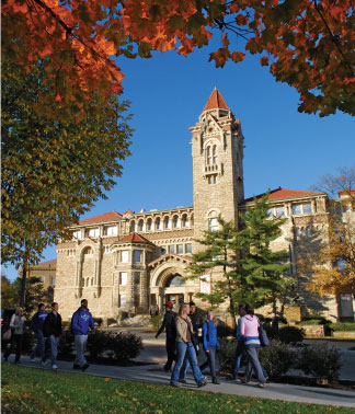 dyche hall in the fall