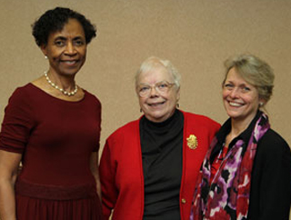 From left, Chancellor Bernadette Gray-Little, Marilyn Stokstad and Saralyn Reece Hardy