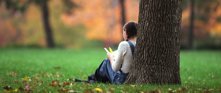 female student sitting by tree studying