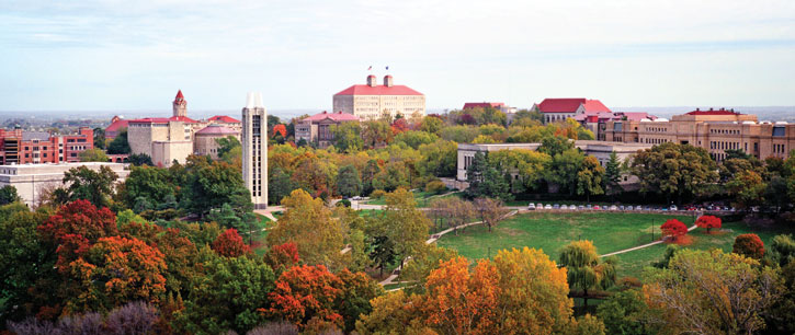 lawrence campus aerial in the fall